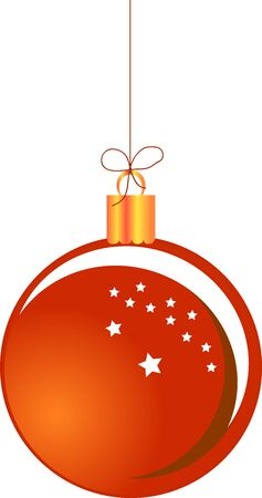 Red Christmas ball hanging on a string Illustration