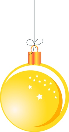 Yellow Christmas ball hanging on a string Stock Vector - 16984323