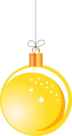 Yellow Christmas ball hanging on a string Stock Vector - 16984323
