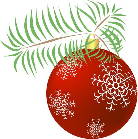 Red Christmas ball with snowflakes on tree branch Illustration