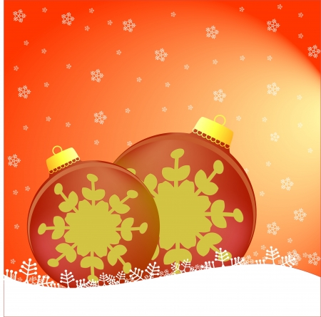 Two Christmas tree balls on falling snow background