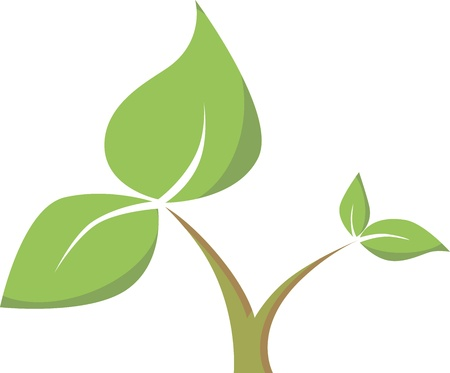 icon with a green stem with leaves Illustration