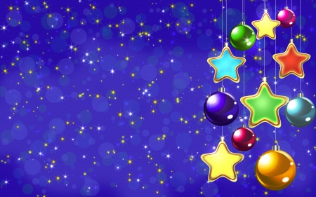 Christmas balls on the blue background