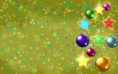 Christmas balls on yellow background