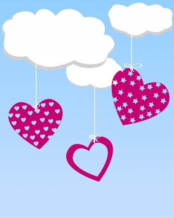Hearts hanging from the clouds Vector