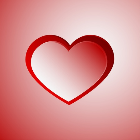 Red light heart with red stroke Stock Vector - 17351089
