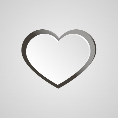 White heart on grey background