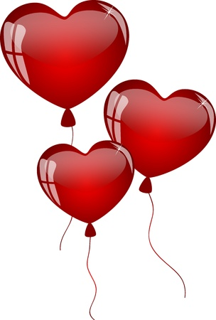 red balloons in the shape of heart Stock Vector - 17433195