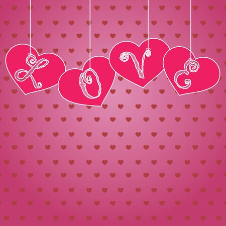 Hanging hearts with letters Stock Vector - 17433193
