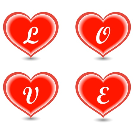 The word Love in hearts Stock Vector - 17504808