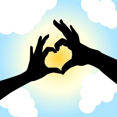 Love shape hand silhouette in sky Vettoriali