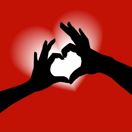 Love shape hand silhouette Ilustração