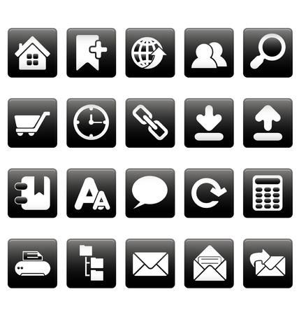 White web site icons on black squares