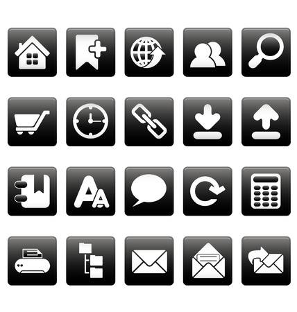 White web site icons on black squares Stock Vector - 19478650
