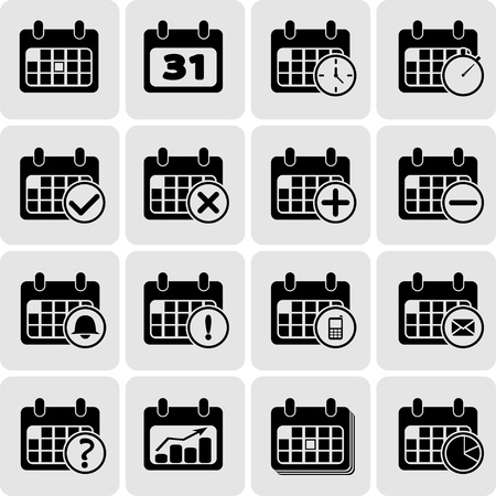 Black calendar events icon Vector