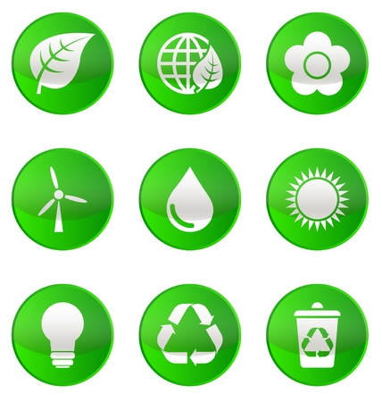 Ecological Icons on green Vector