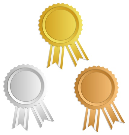 Gold, silver, bronze award label with ribbons Vettoriali