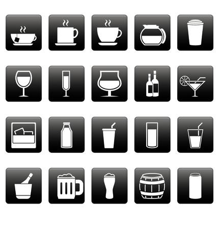 jarra de cerveza: Bebidas iconos blancos en cuadrados negros Vectores