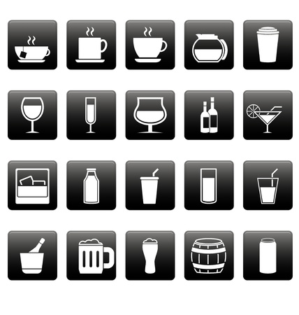 White drink icons on black squares Vector