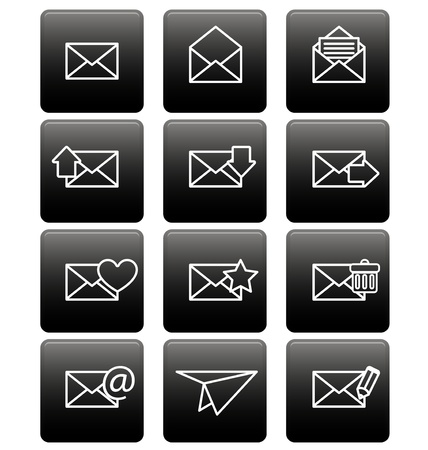 White envelope icons for email on black square Stock Vector - 19478639