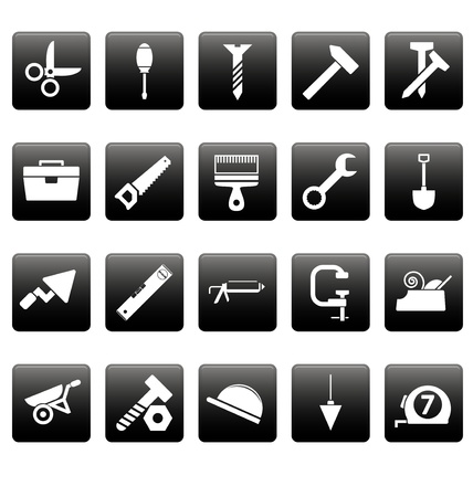 vices: White tools icons on black square