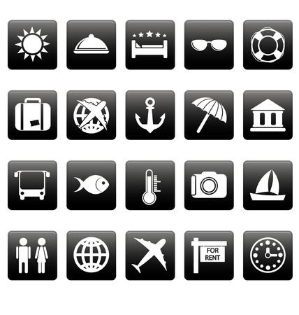 White travel icons on black square