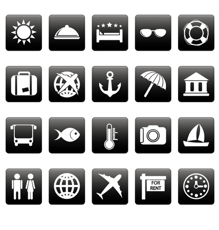 White travel icons on black square