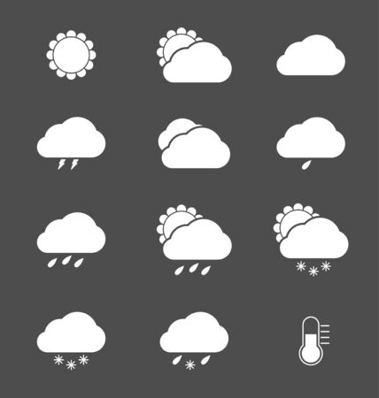 White weather icons on grey Vector