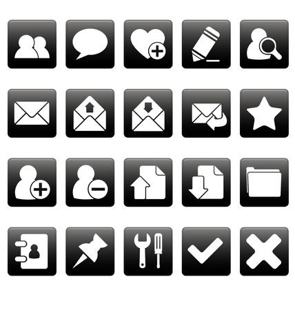 White web icons on black squares Vettoriali
