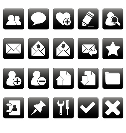 White web icons on black squares Stock Vector - 19478656
