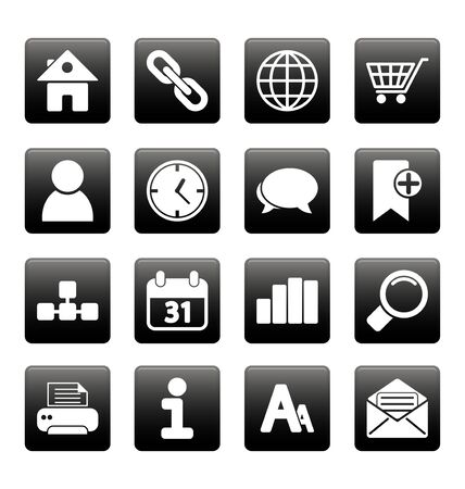 White web site and internet icons on black squares Stock Vector - 19478642