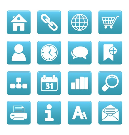 White web site and internet icons on blue squares Stock Vector - 19478641