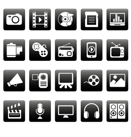 White media icons on black squares Stock Vector - 19478648