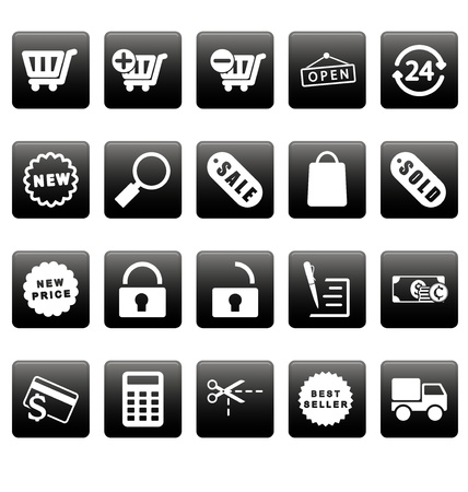 White shopping icons on black squares