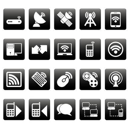 White wireless icons on black squares