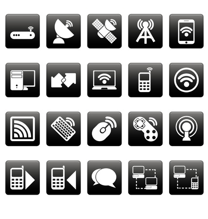 White wireless icons on black squares