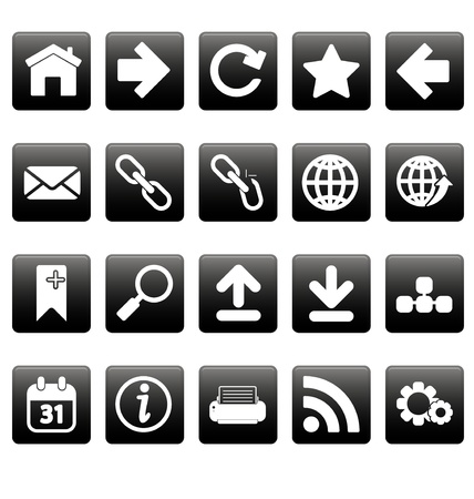 White web icons on black squares Stock Vector - 19478645