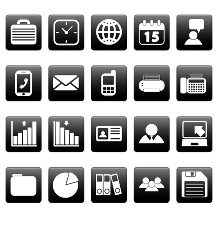 White business icons on black squares Vettoriali