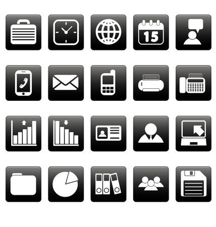 picto: White business icons on black squares Illustration
