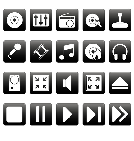 White media icons on black squares