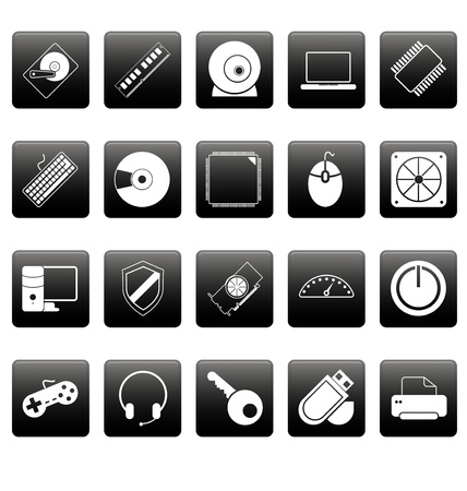 Computer icons on black squares Stock Vector - 19478688