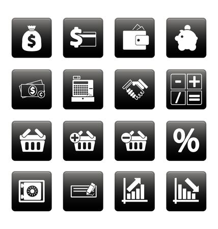Finance icons on black squares Stock Vector - 19478703
