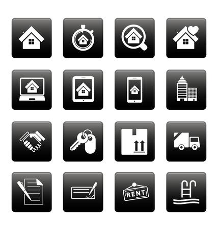 picto: Real estate icons on black squares Illustration