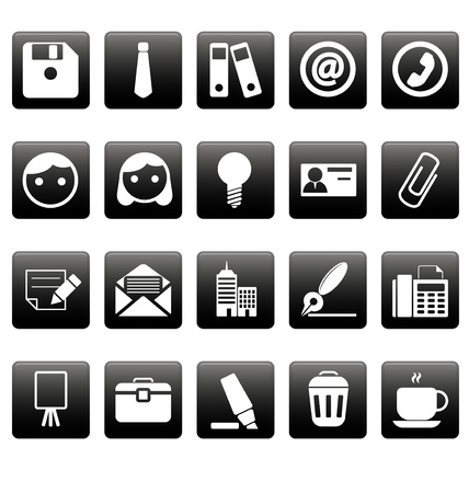 Office icons on black squares Vector