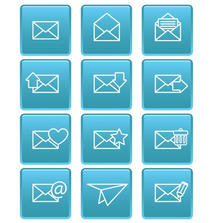 Envelope icons for email on blue squares Stock Vector - 19478691