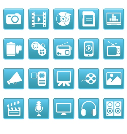 Media icons on blue squares
