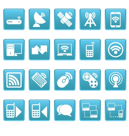 Wireless icons on blue squares Stock Vector - 19478697