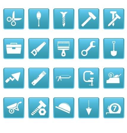 vices: Tools icons on blue squares