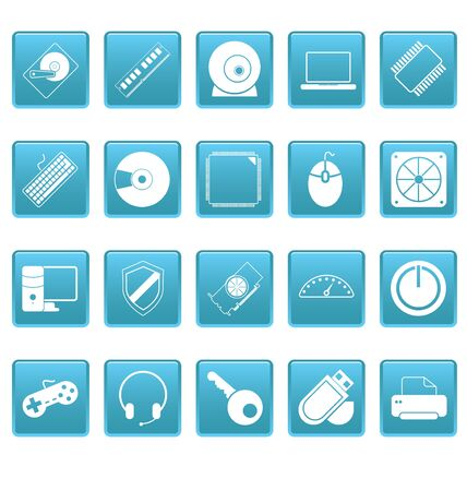 Computer icons on blue squares