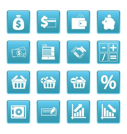 Finance icons on blue squares Stock Vector - 19478700